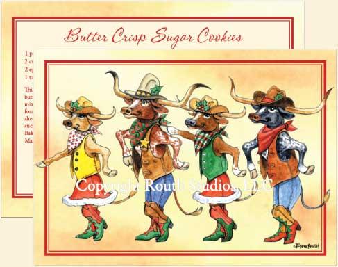 Longhorn Line Dance Christmas Cards CTX11D Routh