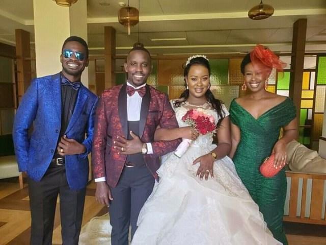 Joel Ssenyonyi, Fabrice Nagawa with Bobi Wine and wife, barbie at their wedding
