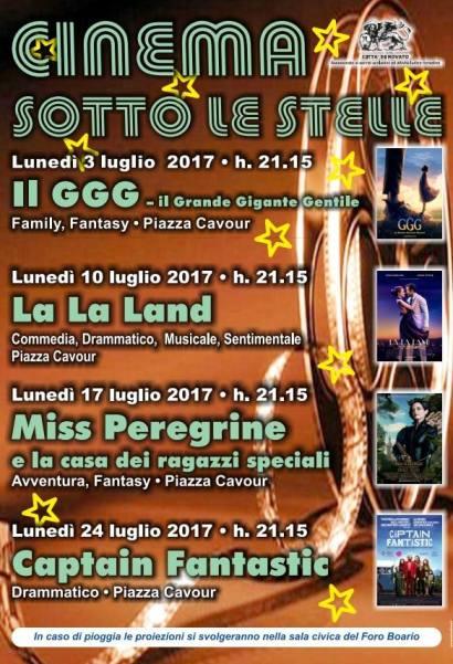 Film in piazza Cavour, programma