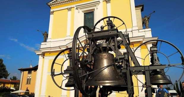 Le campane ristrutturate della chiesa del Duomo, foto da pagina Facebook Comune di Rovato