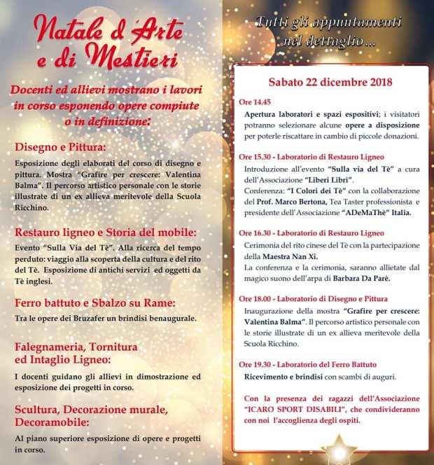 Il programma di Natale di Arti e mestieri alla scuolla Ricchino di Rovato