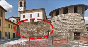 Rovato, il tratto crollato delle Mura Venete