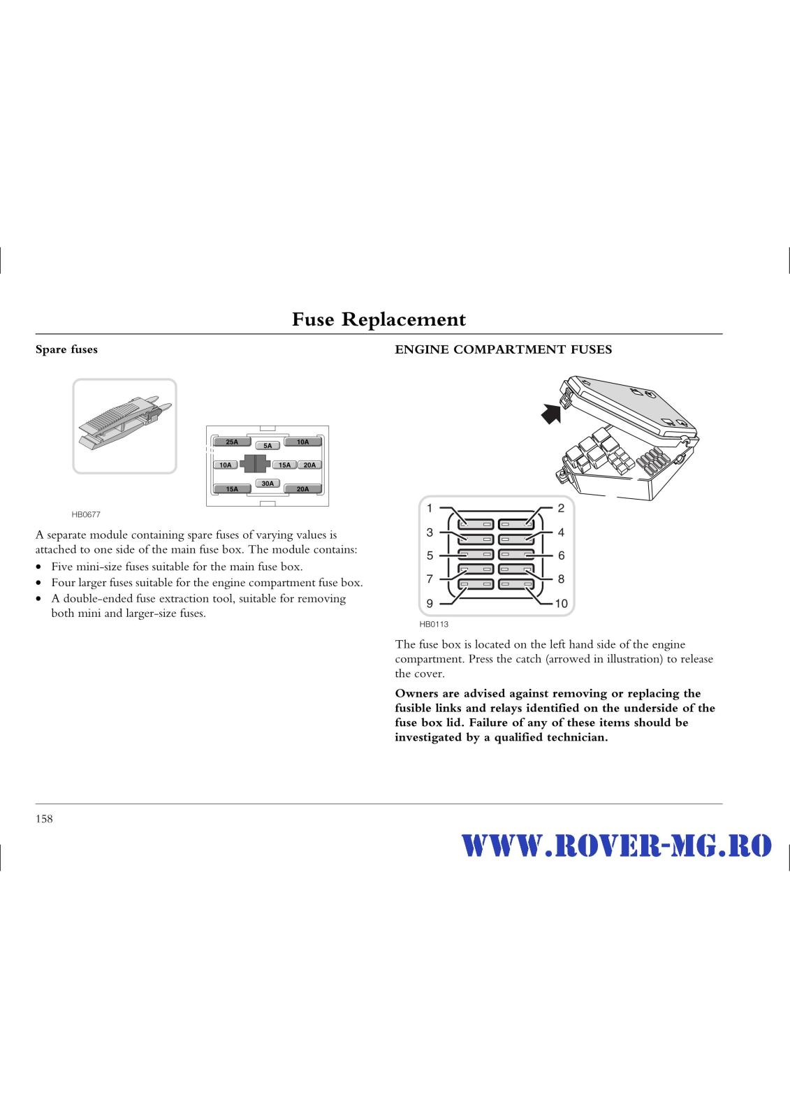 hight resolution of fusebox and diagnostic socket locations rover 25 1999 2006 petrol 1 4 page0158 i2 jpg