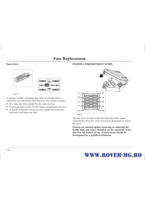 small resolution of fusebox and diagnostic socket locations rover 25 1999 2006 petrol 1 4 page0158 i2 jpg