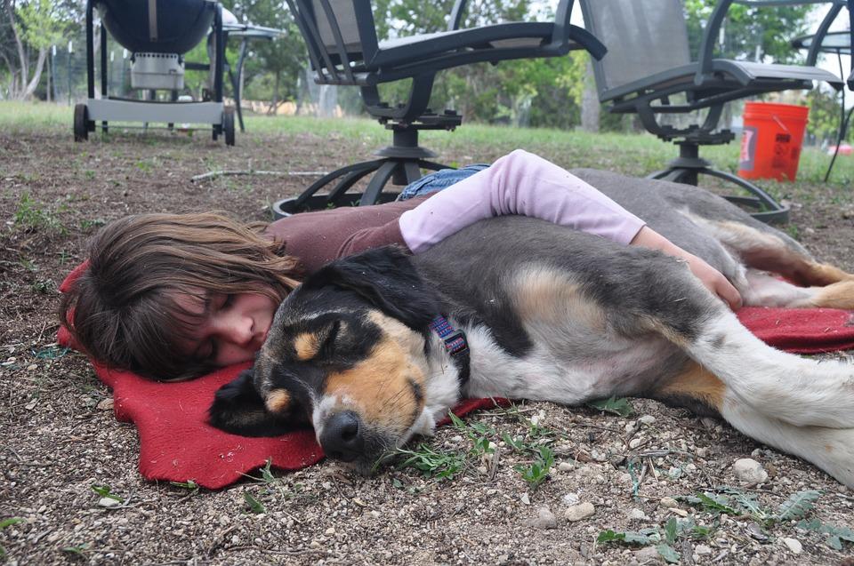 girl and dog sleeping