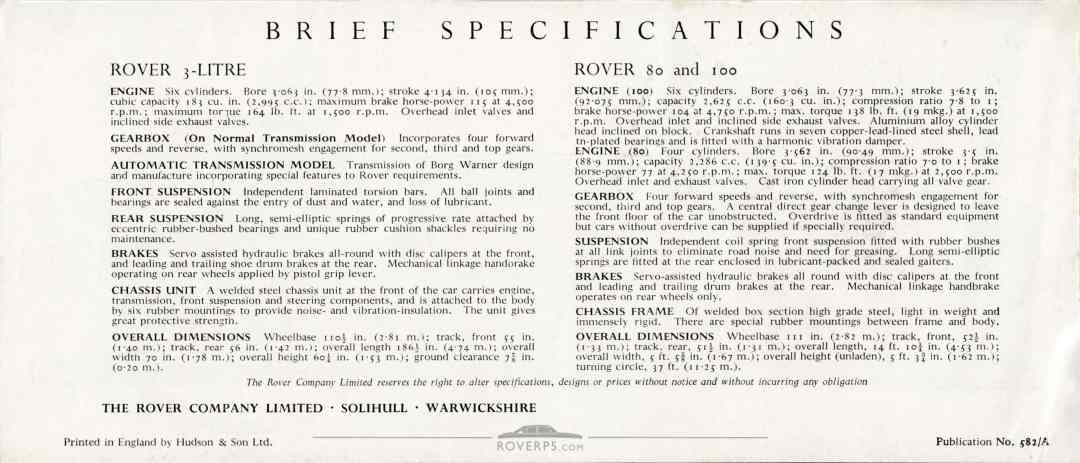 Brochure - 1959 - Rover - Rear Cover