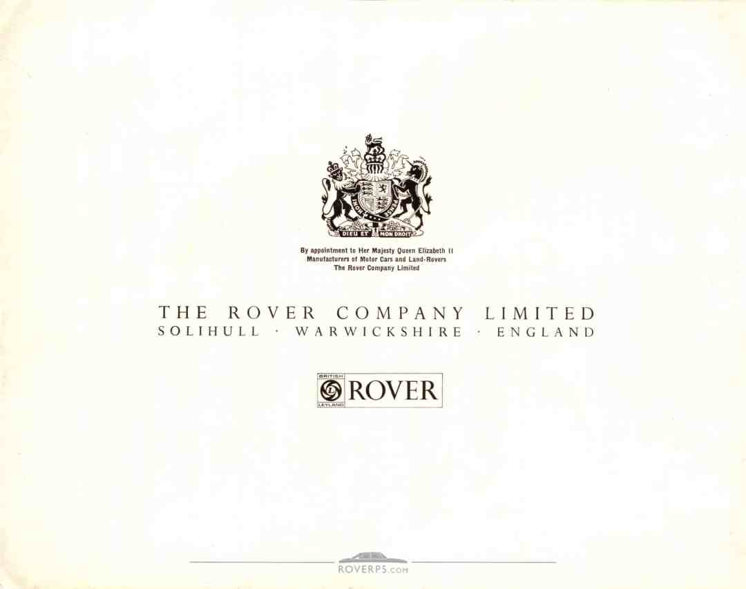 Brochure - 1968 - Rover 3½ Litre - Rear Cover