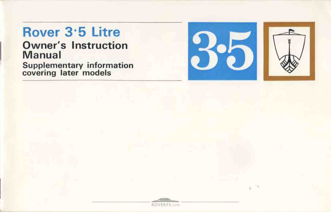 Literature Pack - 1968 - Rover 3.5 Litre Owners Instruction Manual Supplementary - Front Cover