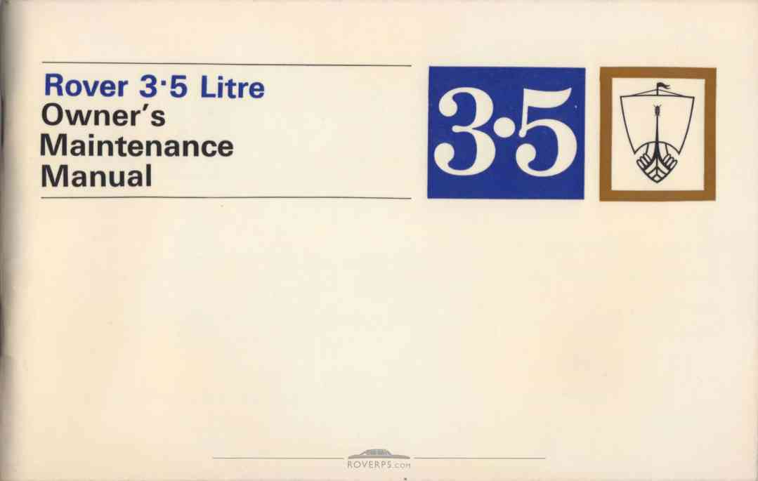 Literature Pack - 1968 - Rover 3.5 Litre Owners Maintenance Manual - Front Cover