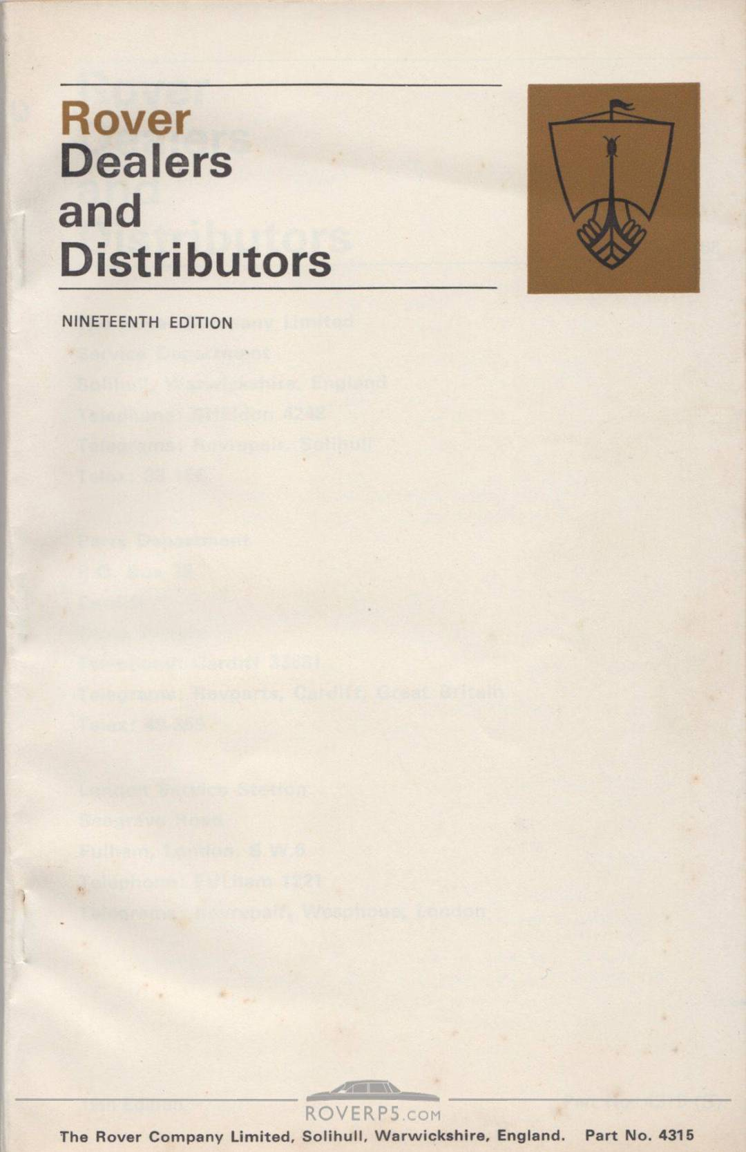 Literature Pack - 1968 - Rover Dealers and Distributors - Front Cover