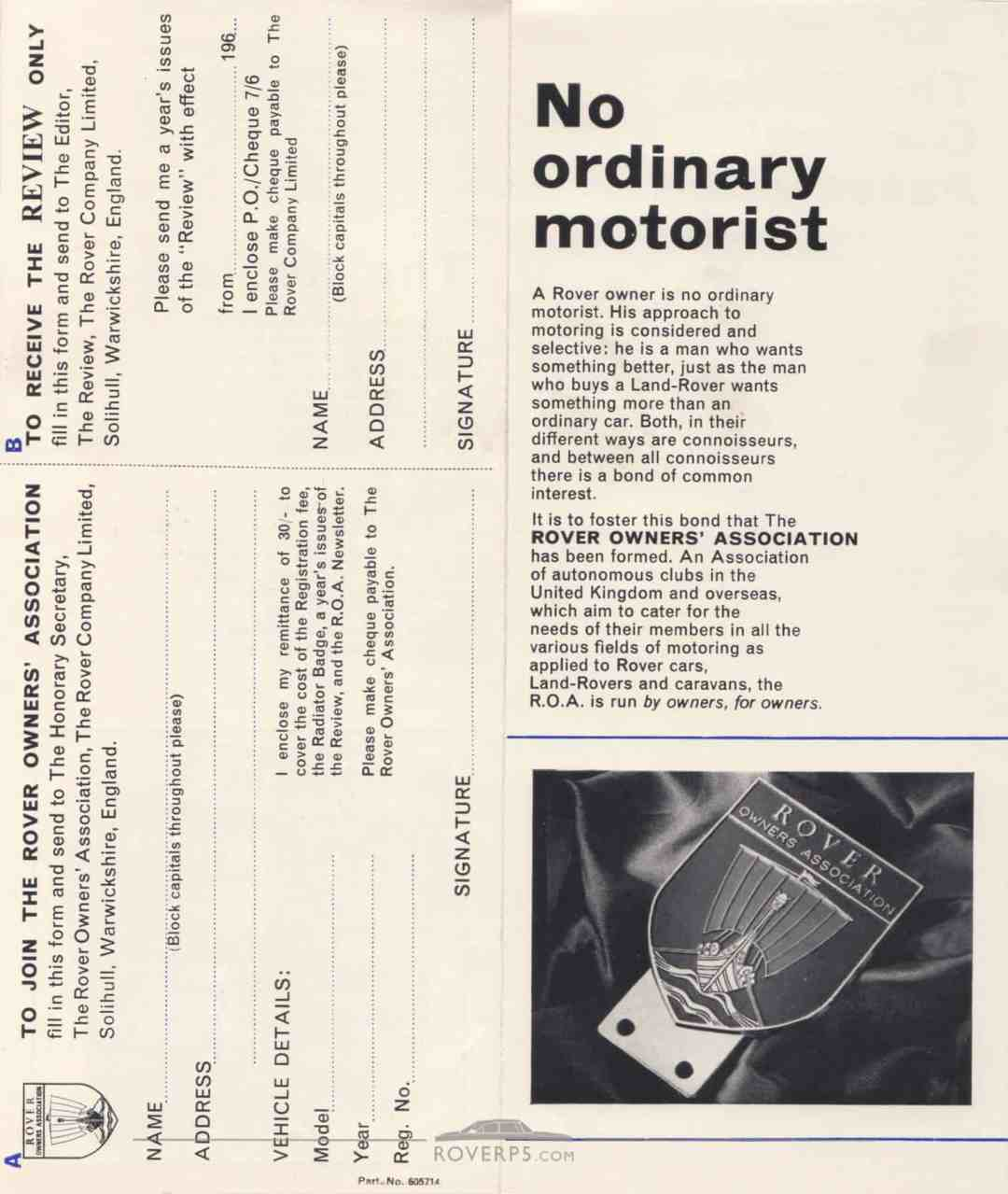 Literature Pack - 1968 - The Rover Owners Association - Rear