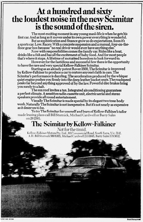 Kellow Falkiner Rover Scimitar The Age 13-8-1981