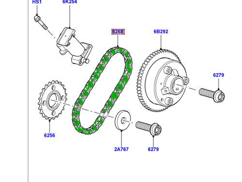 LAND ROVER ENGINE TIMING CHAIN R ROVER 06-09 LR3 V8 SPORT