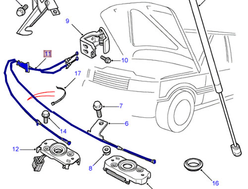 LAND ROVER HOOD CABLE RELEASE RANGE ROVER 4.0 4.6 P38 95
