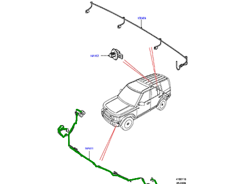 GENUINE LAND ROVER WIRING HARNESS FRONT BUMPER LR4 10-11