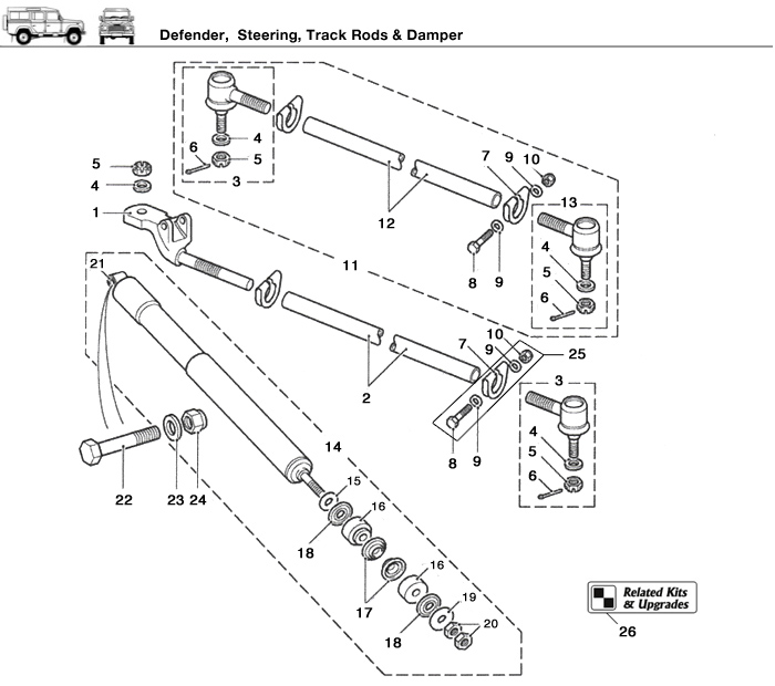 land rover defender front suspension diagram