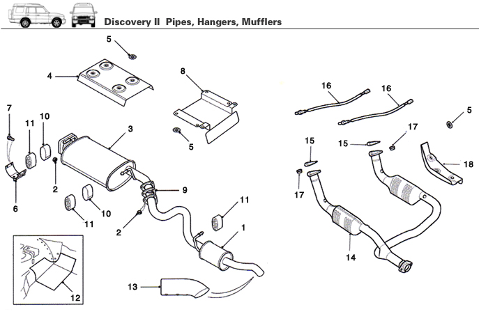 Land Rover Discovery II Exhaust Pipe, Hanger, & Muffler