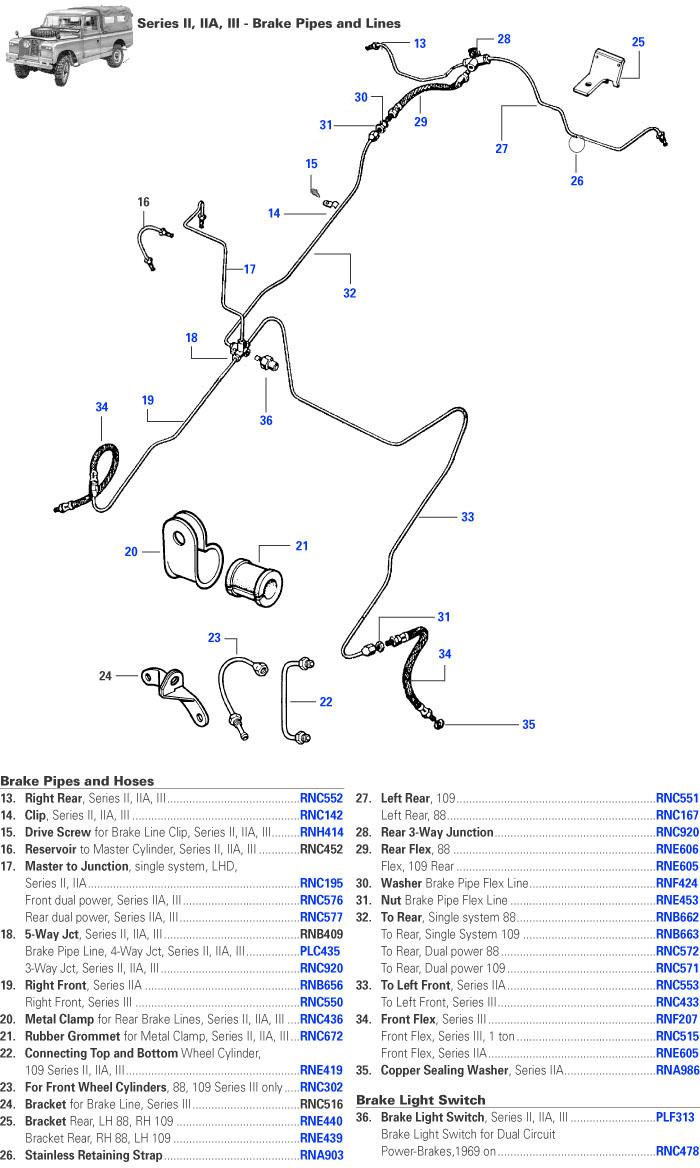 hight resolution of land rover series ii iia and iii brake lines