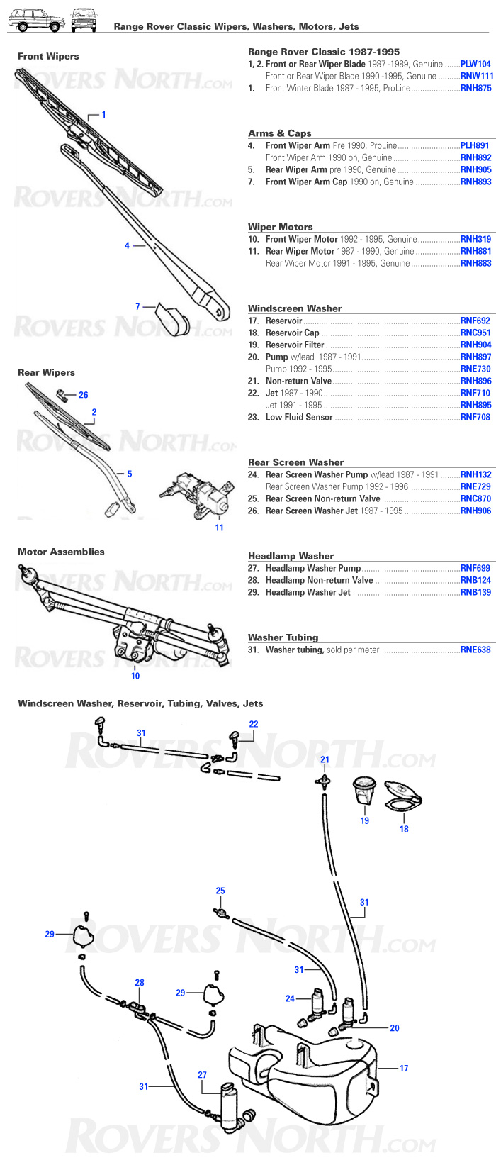 Windscreen / Windshield Wipers and Washers for Range Rover