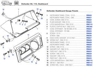Defender Dashboard, Dash, Electrical Gauges, Switches