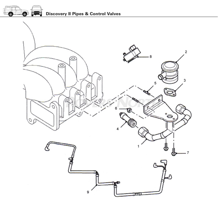 rover 75 wiring diagram 2009 pontiac g6 headlight pipes and control valves, top end, engine, discovery ii | rovers north - land parts ...