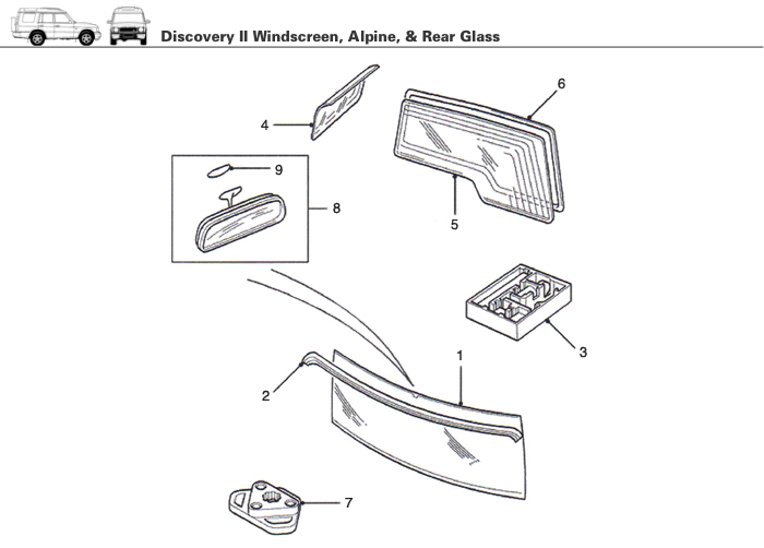 Windscreen / Windshield, Apline & Rear Glass for Discovery