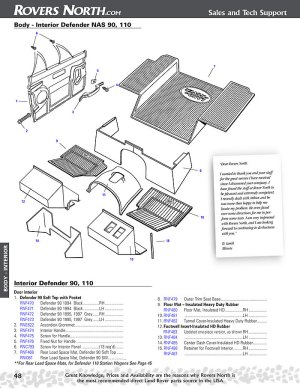 Defender Interior Body | Rovers North  Land Rover Parts and Accessories Since 1979