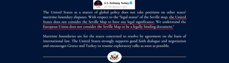 Για «αμφισβητούμενες θαλάσσιες περιοχές» μιλά η πρεσβεία των ΗΠΑ στην Τουρκία