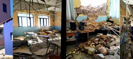 Εικόνες καταστροφής από το Δημοτικό Σχολείο Δαμασίου