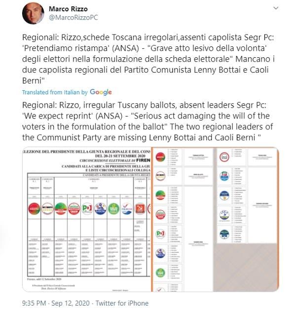 Aπέκλεισαν τους επικεφαλής του ΚΚ Ιταλίας από τις εκλογές