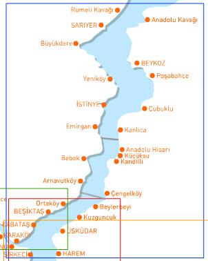 Ferry Map for Bogaz Line Istanbul Turkey