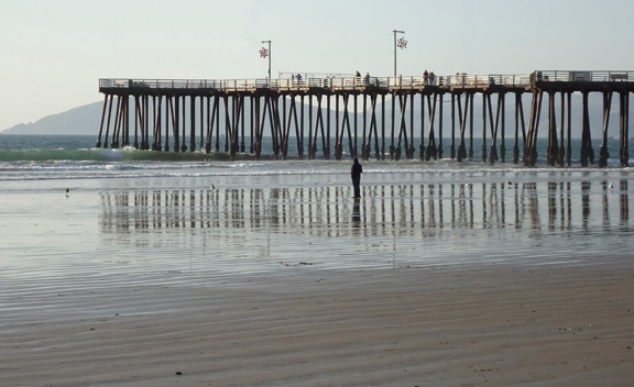 Pismo Beach Pier with lone walker