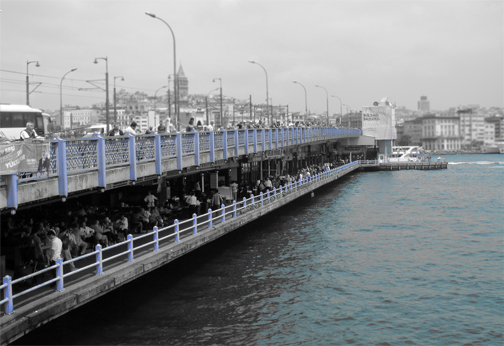 Galata Bridge Istanbul Turkey Black & White Photo tinted