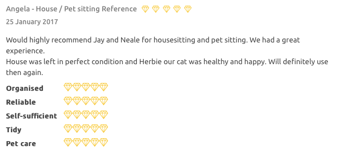 Housesitting reference for Jay Artale on Trusted HouseSitters
