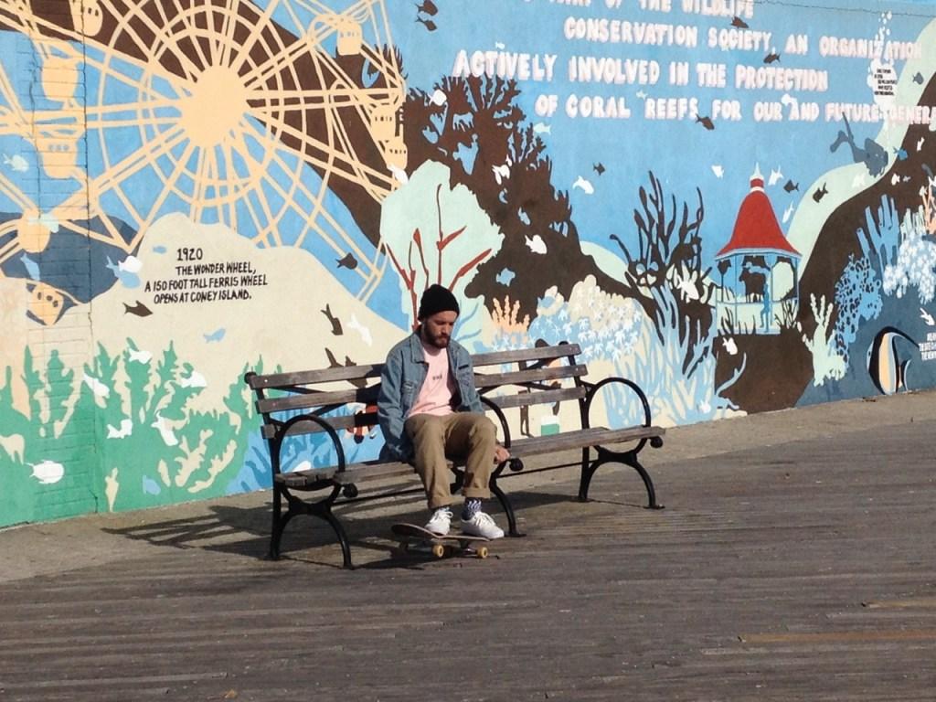 Skateboarder Trips at Coney Island Brooklyn NYC