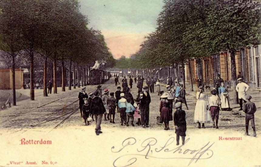 Het vertrekpunt aan de Rosestraat, ca. 1900