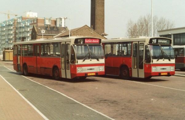 Bus 12 GBVG. De DAF-Hainje serie is vanuit Groningen te leen voor het testen van de chauffeursstoel van maart tot mei 1988. BT-86-BS