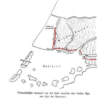 Een kaartje van het gebied uit de Romeinse tijd toont de loop van de 'heerweg'.