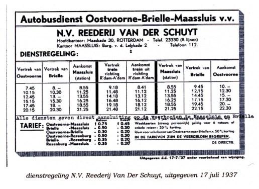 Dienstregeling Van der Schuyt, 1937