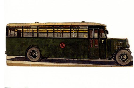 Krupp-bus 7 penseeltekening, in de RET werkkleur groen.