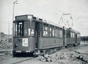 Aanhangrijtuig 1155 (ex emr 155) op lijn 14, Pompenburg, ca. 1943