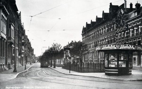 Avenue Concordia gezien vanaf de Oudedijk, lijn 22, 1938