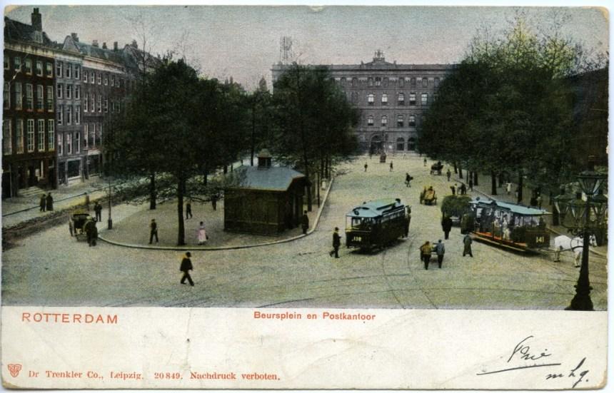Het wachthuisje gezien vanaf Station Beurs in de richting van het Postkantoor (van oost naar west)
