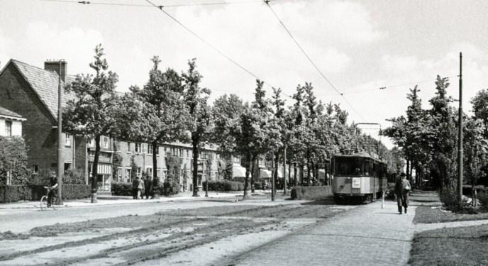 Groenezoom gezien richting Langegeer, lijn 3, aanhangrijtuig 1016, 5-1949