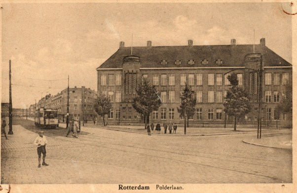 Polderlaan kort na de indienststelling van lijn 9, 1930