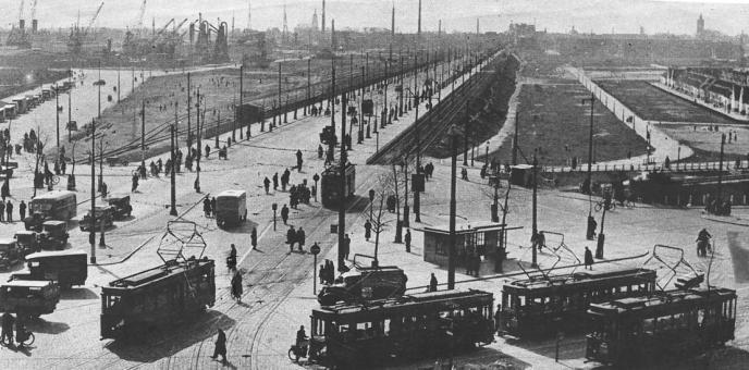 Marconiplein richting Rotterdamsedijk Schiedam, ca. 1935