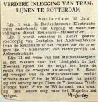 19400614 Verdere inlegging van tramlijnen te Rotterdam