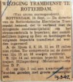 19420914 Wijziging tramdienst Rotterdam