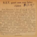 19470705-RET-gaat-een-uur-later-rijden, Verzameling Hans Kaper