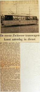 19561204 Eerste Zwitserse tram komt zaterdag in dienst